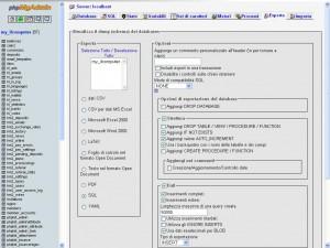 Esportare il database o le tabelle