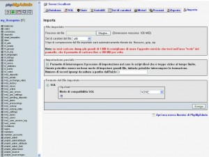 Importare il database o le tabelle