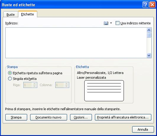 stampa con word