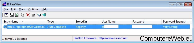 mostra password