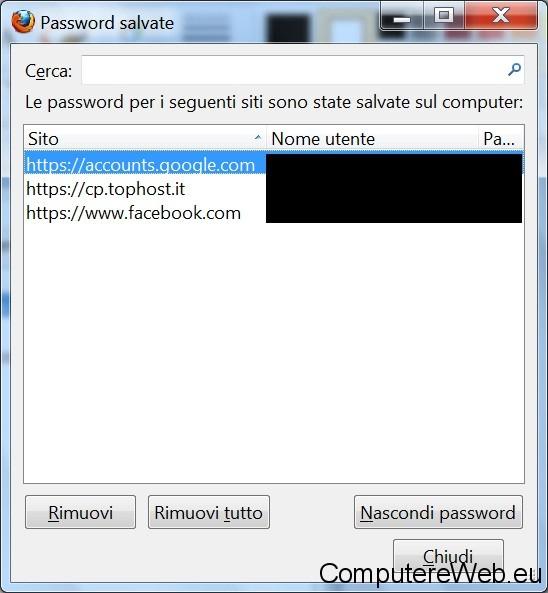 visualizza password servizi web