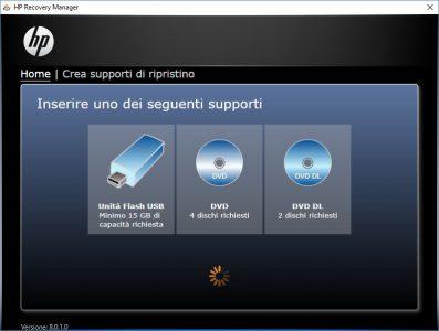 HP Recovery Manager Come Creare Unità Ripristino