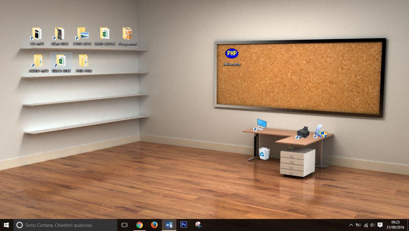 Come personalizzare sfondo scrivania desktop windows for Scaffale da scrivania