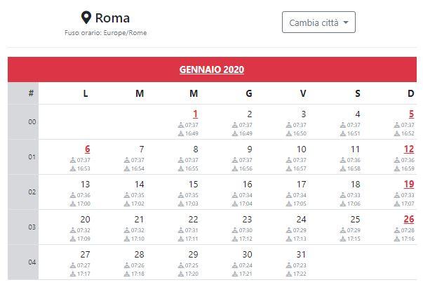 Calendario Italiano 2020 Con Festivita.Calendario 2020 Da Stampare Con Festivita Fasi Lunari Alba