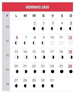 Calendario Gennaio 2020 Da Stampare.Calendario 2020 Da Stampare Con Festivita Fasi Lunari Alba
